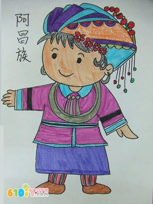 藏族小姑娘简笔画图片_藏族小姑娘简笔画图片下载