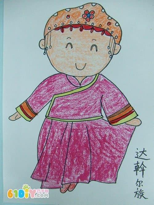 达翰尔族服饰简笔手绘图