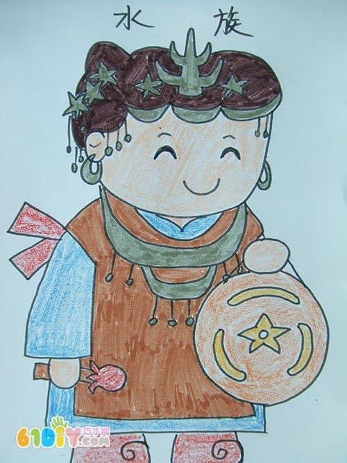 56个民族卡通简笔画(彩色版)(4)_快乐涂鸦_巧巧手幼儿