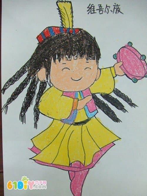 56个民族卡通简笔画(彩色版)维吾尔族