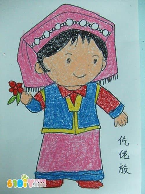 民族卡通娃娃简笔画内容图片展示_民族卡通娃娃简