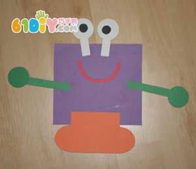 儿童三角形贴画-幼儿手工DIY可爱的图形拼贴小怪物