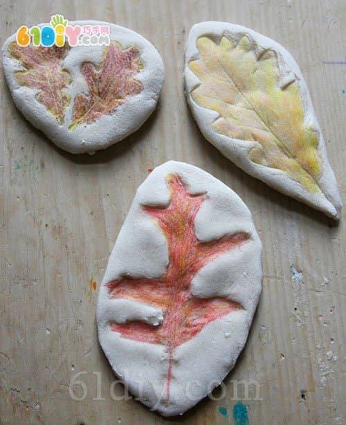 儿童手工 盐面团制作树叶