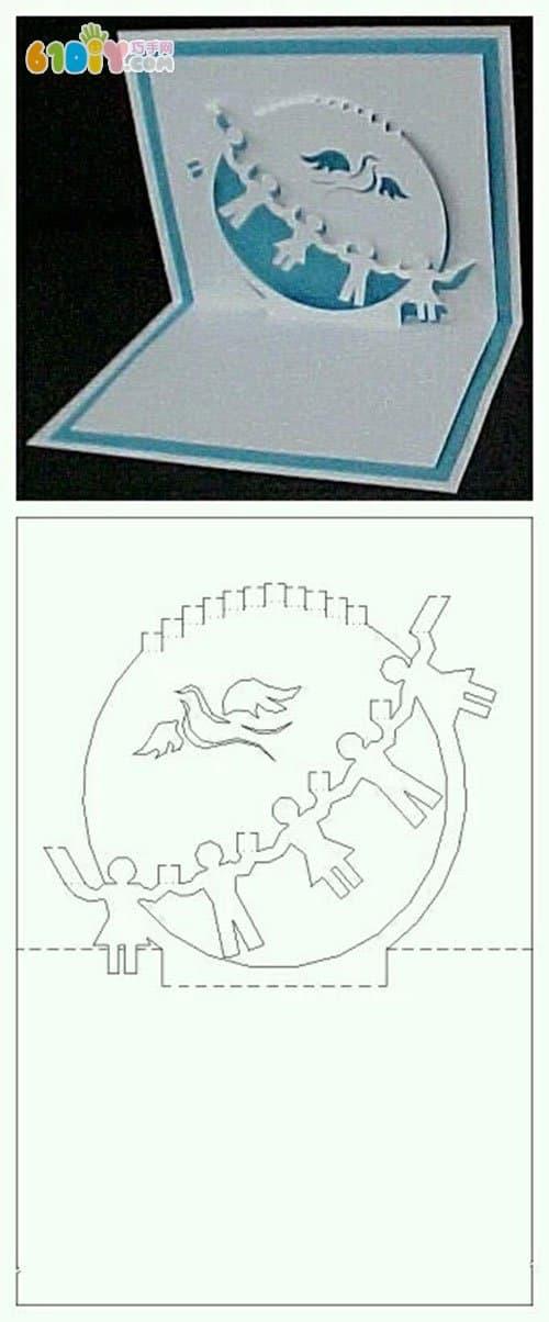 纸雕立体贺卡图纸 亿虎网