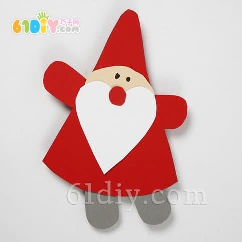 卡纸制作圣诞挂饰 圣诞老人 幼儿卡纸手工贴画制作 孔雀卡纸贴
