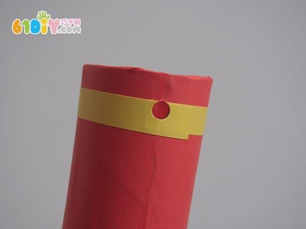 卷纸芯手工制作新年鞭炮串挂饰
