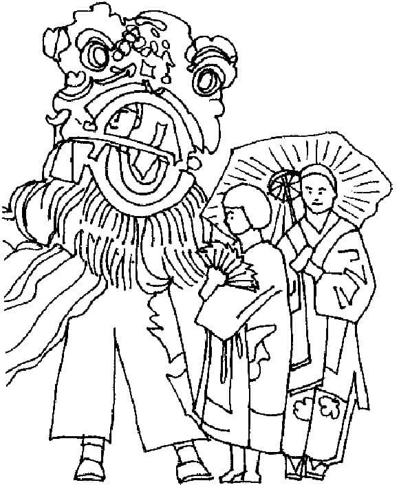 新年舞龙舞狮填色图