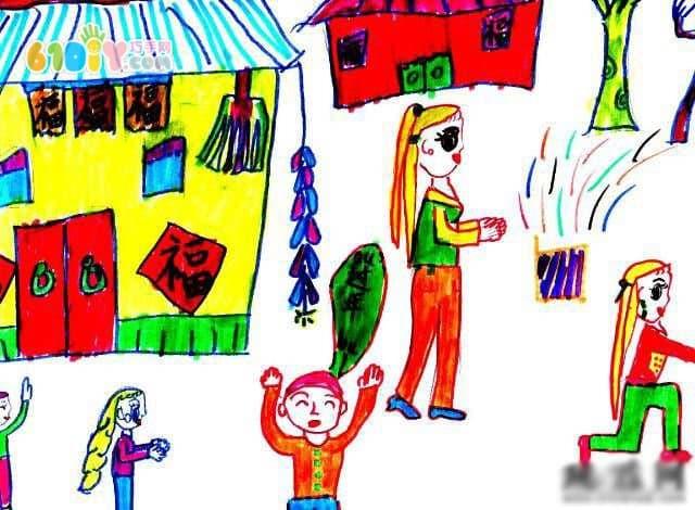 小朋友的春节绘画作品
