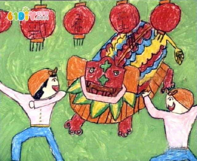小朋友的春节绘画作品图片