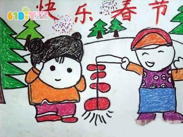 春节儿童画图片_巧巧手幼儿手工网