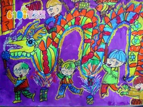 春节儿童画图片_快乐涂鸦_巧巧手幼儿手工网