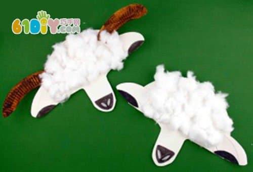 纸盘手工制作小羊面具