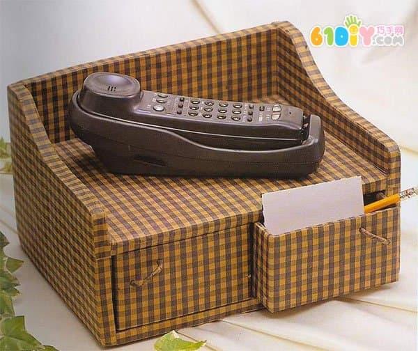 废纸板制作电话架_纸盒手工