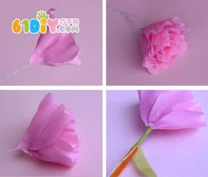 皱纹纸手工花教程 美丽的牡丹花