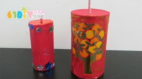 孩子们的春节手工 奶粉罐和纸筒鞭炮