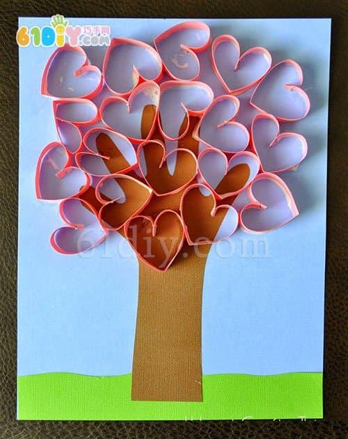 幼儿小制作 立体爱心树图片