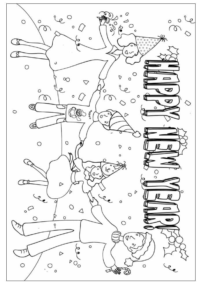 儿童春节喜庆填色图