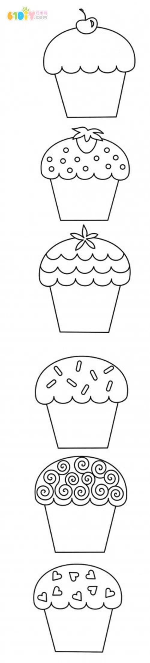 小蛋糕的6款简笔画