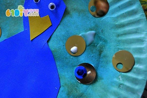 儿童创意手工 纸盘孔雀diy