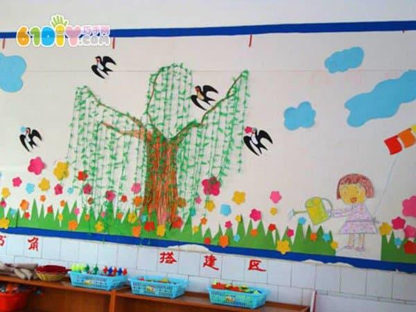 幼儿园春天主题墙 燕子柳树