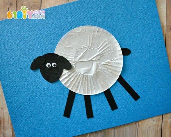 蛋糕纸创意 小绵羊贴画手工