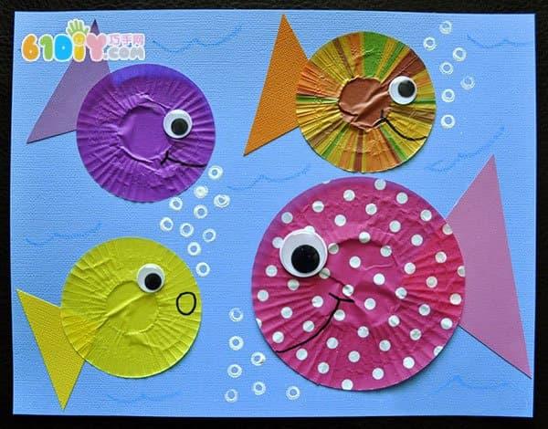 蛋糕纸创意贴画 可爱的小鱼