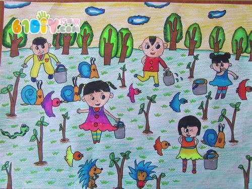 植树节儿童画作品