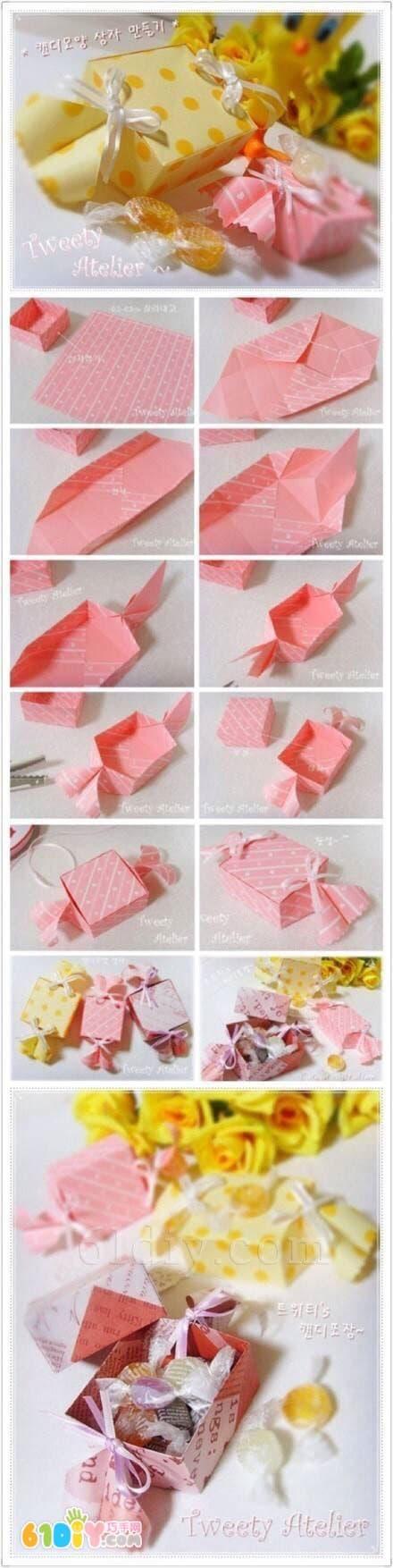 母亲节礼物 糖果形礼物盒折纸图片