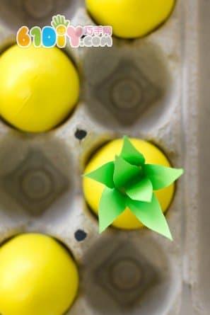 蛋壳手工制作可爱小菠萝