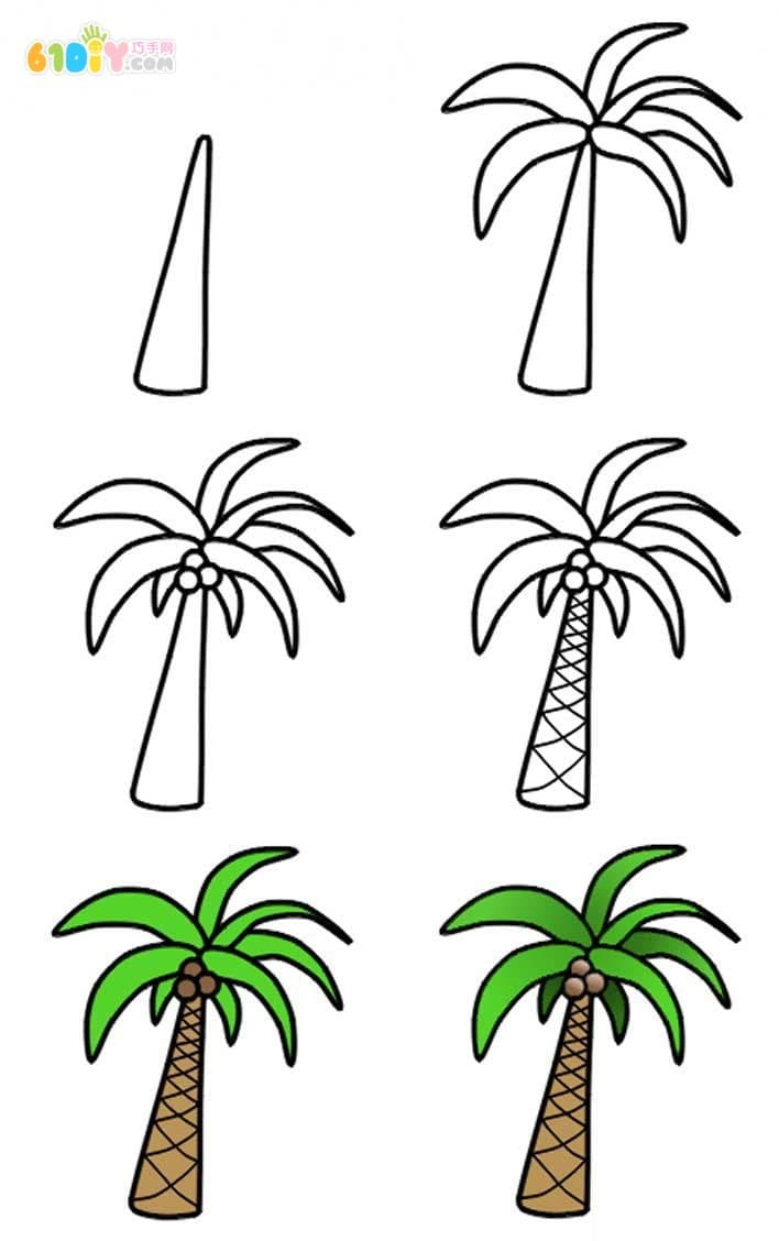 怎样画椰子树