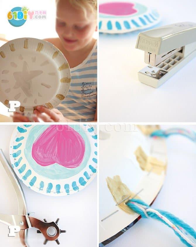 儿童手工制作纸盘手鼓