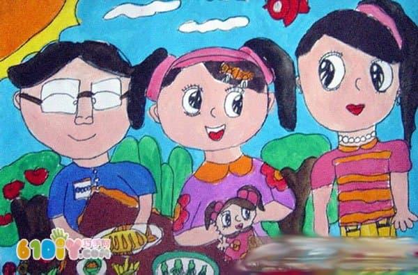 儿童画作品《全家福》图片