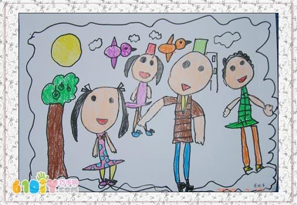 儿童画作品《全家福》(2)图片