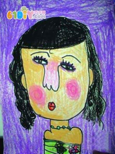 母亲节儿童画 我的漂亮妈妈