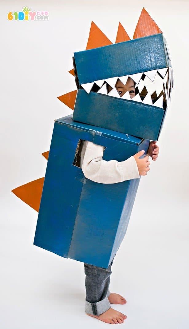 废纸箱创意diy恐龙演出服_纸盒手工_巧巧手幼儿手工网