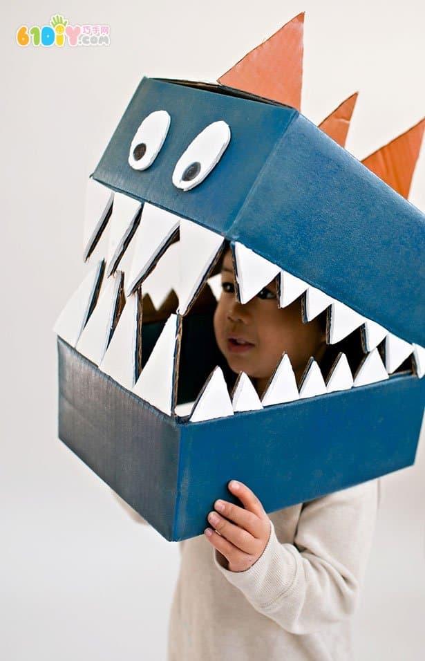 废纸箱创意diy恐龙演出服(2)_纸盒手工_巧巧手幼儿