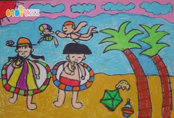 夏天主题儿童画作品