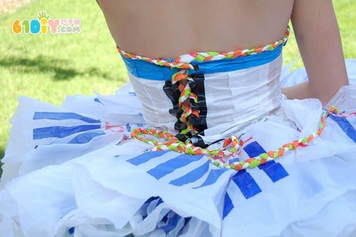 漂亮的塑料袋手工裙子