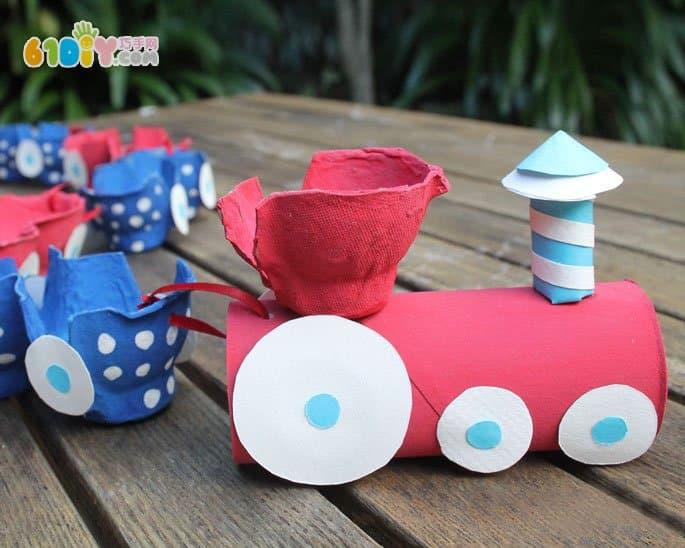 纸筒鸡蛋托制作小火车