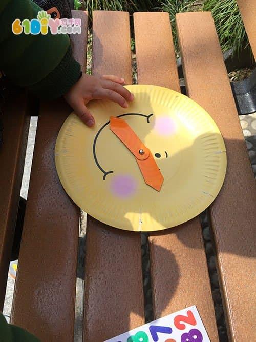宝宝手工制作纸盘时钟