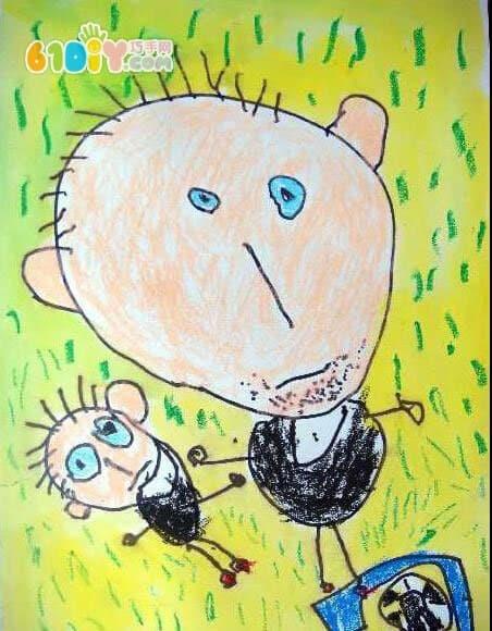 父亲节儿童画_快乐涂鸦_巧巧手幼儿手工网