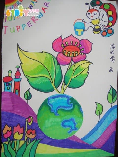 爱护环境保护地球主题儿童画