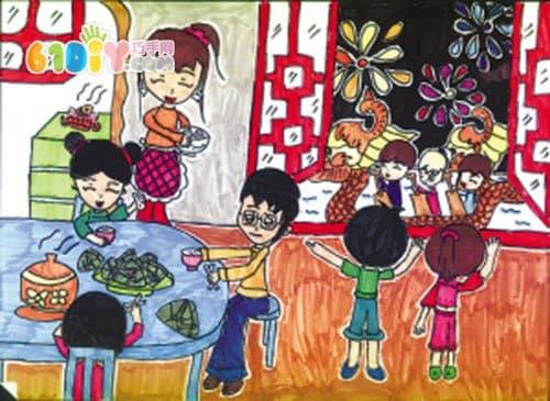 端午节习俗儿童画作品