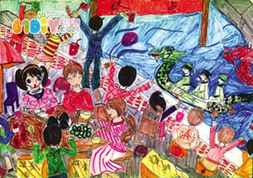 端午节习俗儿童画作品_巧巧手幼儿手工网图片