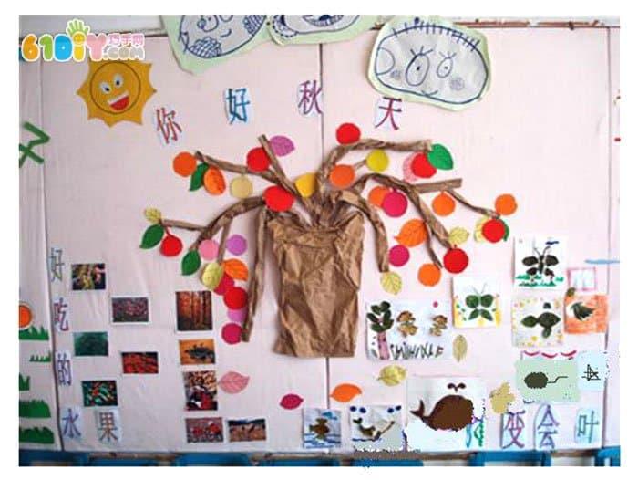 幼儿园秋天墙面布置 你好秋天_巧巧手幼儿手工网