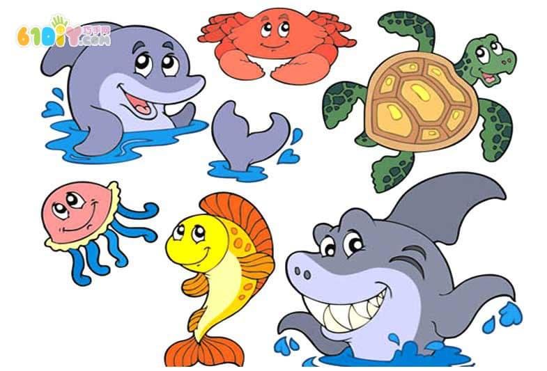 附上一些卡通海底动物图片