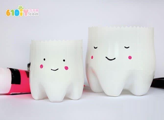 爱牙日手工 瓶子制作可爱的牙齿宝宝牙刷杯