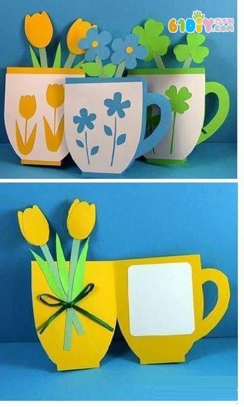卡纸手工贴画教师节-教师节手工茶杯卡
