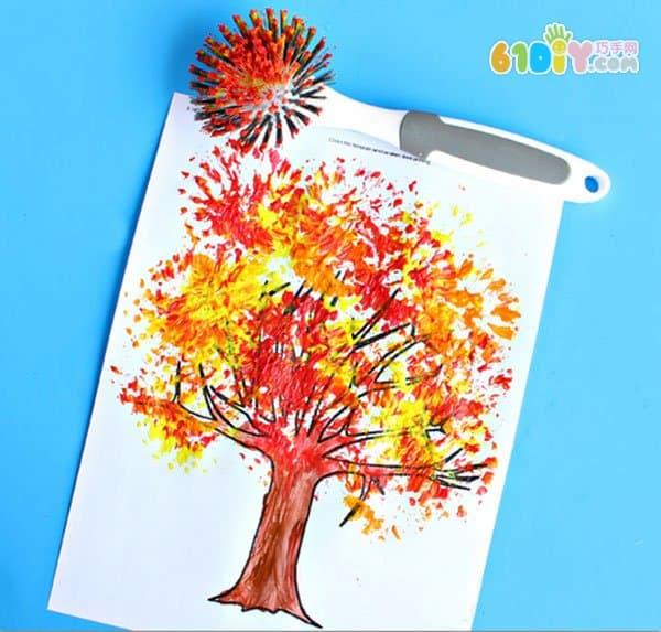 儿童绘画 用洗碗刷画一画秋天的大树