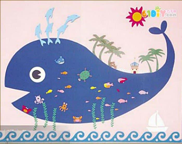幼儿园墙面布置 海底鲸鱼图片
